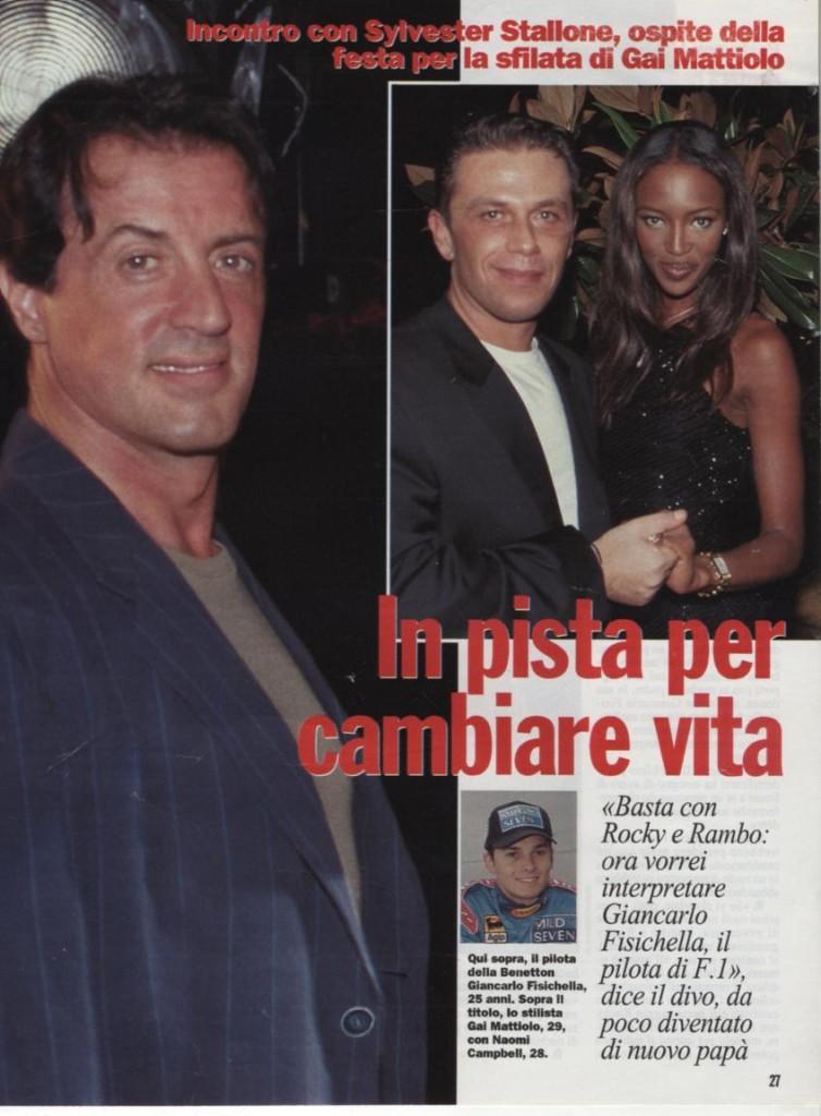 Sylvester Stallone, Naomi Campbell e Gai Mattiolo